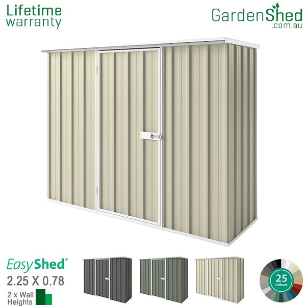 EasyShed 2.26x0.78 Garden Shed - Smooth Cream