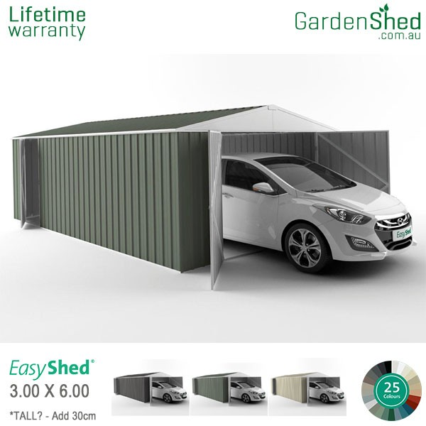 EasyShed 3.00x6.00 Garden Shed - Utility - Pale Eucalypt / Mist Green