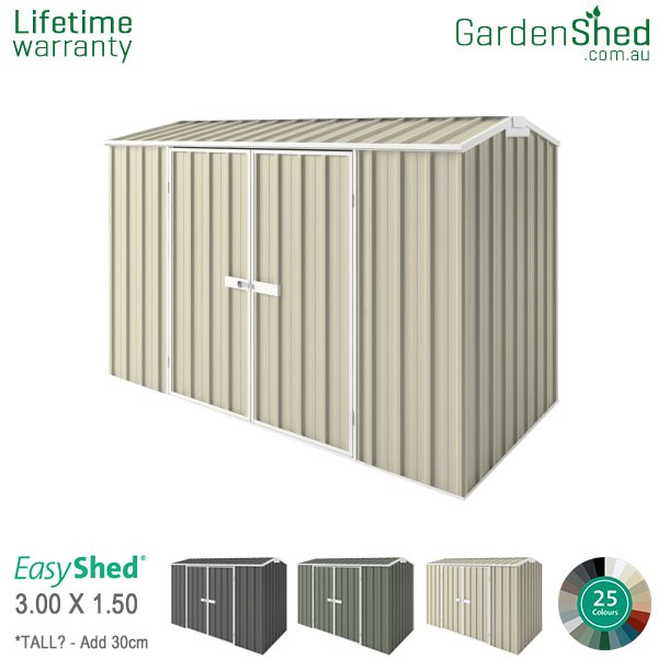 EasyShed Garden Shed 3.00m x 1.50m - Smooth Cream