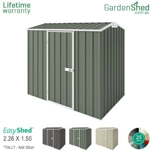 EasyShed Garden Shed 2.25 X 1.50m   Pale Eucalypt / Mist Green